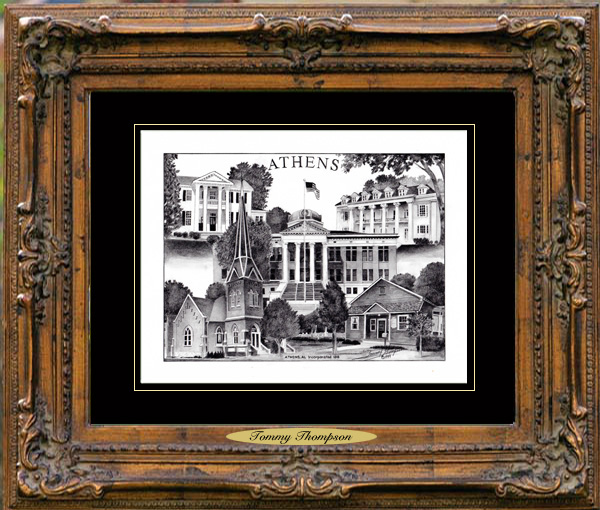 Pencil Drawing of Athens, AL