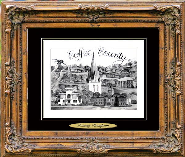 Pencil Drawing of Coffee County, AL