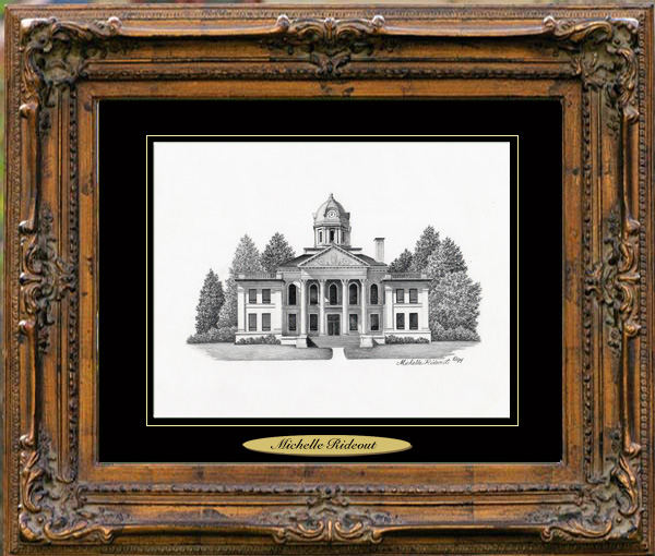 Pencil Drawing of Harrisbug, AR Courthouse