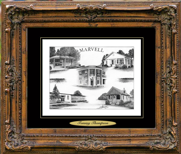 Pencil Drawing of Marvell, AR