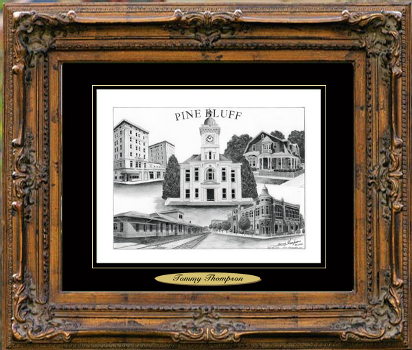 Pencil Drawing of Pine Bluff, AR