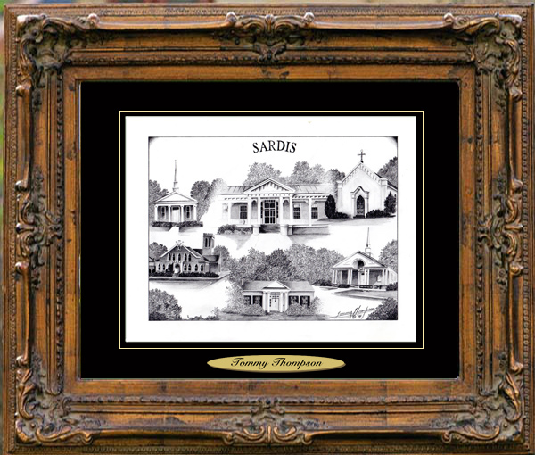 Pencil Drawing of Sardis, MS