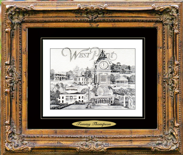 Pencil Drawing of West Point, MS